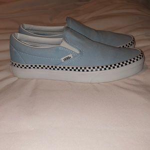 blue slip on vans with checkered rim